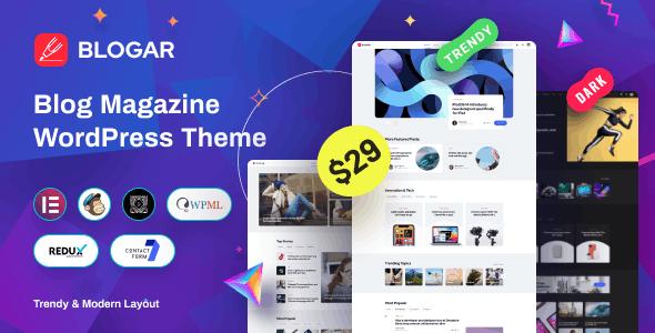 [Nulled] Blogar v1.0.2 - Blog Magazine WordPress Theme